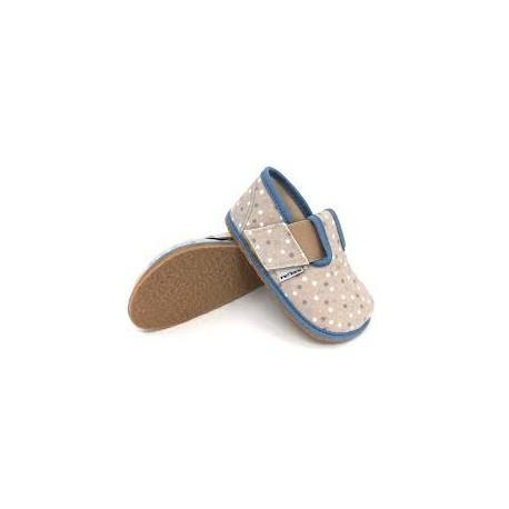 Detské barefoot papuče Pegres BF01 - šedé/modré