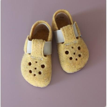 Detské barefoot papuče Pegres BF04 - žlté