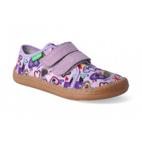 Detské plátené barefoot topánky Froddo G1700283-2 lilac