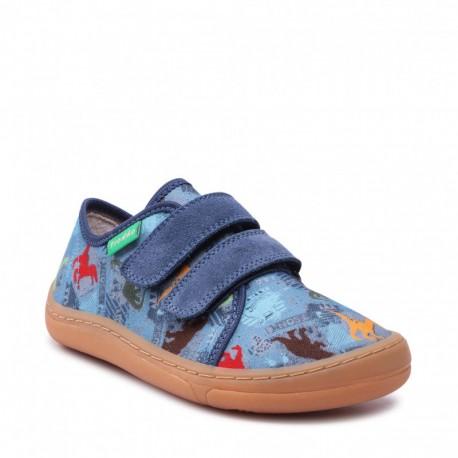 Detské plátené barefoot topánky Froddo G1700302 - denim